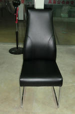 View Item dining chair chairs set of 2 Black Faux leather Modern Very High Back